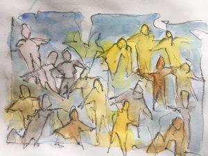 Familieopstilling med Vibeke Nielsen arr. af FindDinVej Ærø Akvarel af Hanne Raunsmed 1